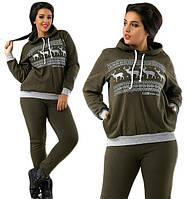 Теплый зимний спортивный костюм женский с капюшоном брюки прямые батальный 60adfa2c5f9