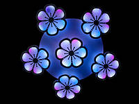 """Светодиодная люстра """"Ромашки""""с пультом и цветной подсветкой  8063-5+1"""