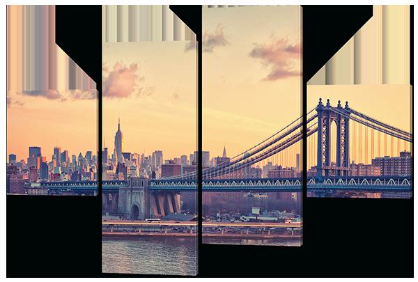 Модульная картина Манхеттенский мост в сумерках. Нью-Йорк