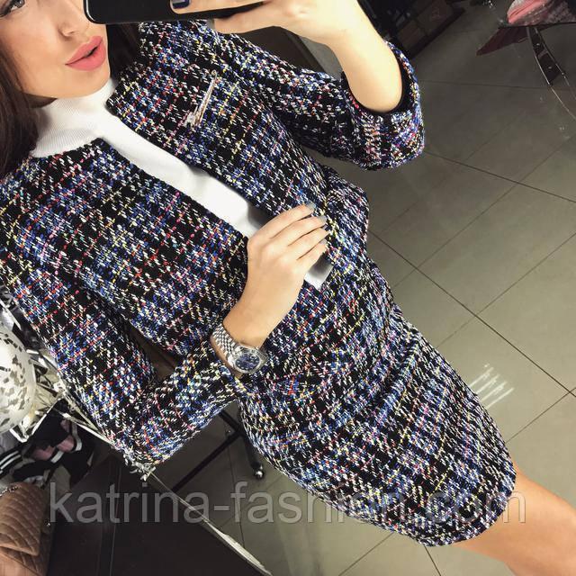 e32315b85b47 Женский стильный твидовый костюм  пиджак и юбка (в расцветках), цена ...
