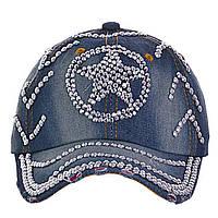Джинсовая кепка со стразами Звезда