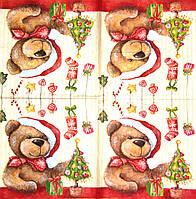 Салфетка декупажная Мишка в новогоднем колпаке 167