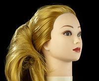 Учебная голова 30% натуральных волос,длина 65см, цвет золотистый