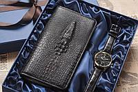 Подарочный косплект клатч и мужские наручные часы, особенный подарок, необычный сюрприз, подарок