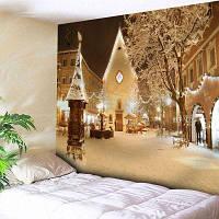 Рождественский Городок Заснеженной Стены Гобелен ширина79дюймов*длина59дюймов