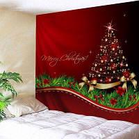 Настенный Декор Рождественский Бант Дерево Печати Гобелен W91 дюйм * L71 дюйм