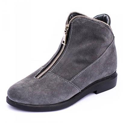 Ботинки серые замшевые 7902