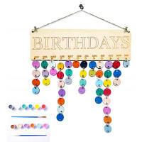 DIY красочные деревянные день рождения календарь напоминание доска настенный