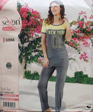 Турецька жіноча піжама SEXEN футболка + штани 32058, фото 2