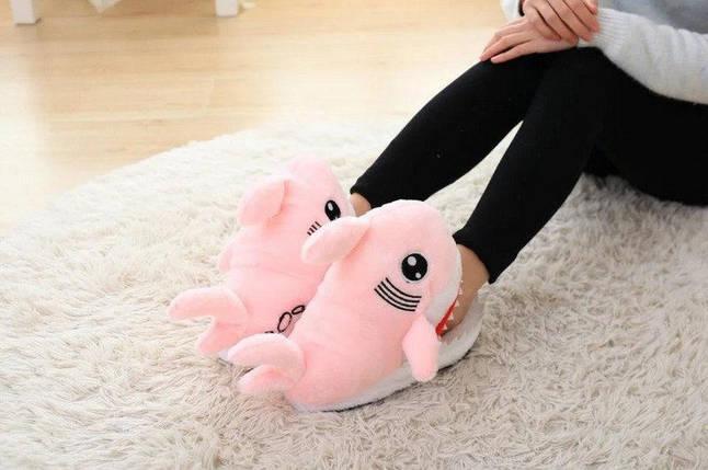 Тапочки игрушки для дома Акулы розовые, фото 2