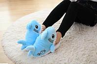 Тапочки игрушки для дома Акулы голубые