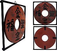 Подвесной декор в китайском стиле (подставка под горячее), керамика и металл