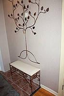 Кованая вешалка- дерево в прихожую с кованой банкеткой