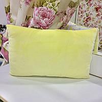 Детская декортивная подушка 40х26 велюр лимонный, фланель звезды: съемная наволочка, наполнитель холлофайбер, фото 1