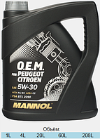 Моторное масло Mannol O.E.M. for Peugeot Citroen SAE 5W-30 A5/B5 C2 4 л