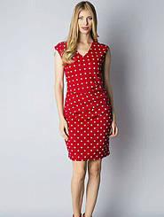 Стильное красное платье в горох со сборками на талии Kaffe, р. XS, S