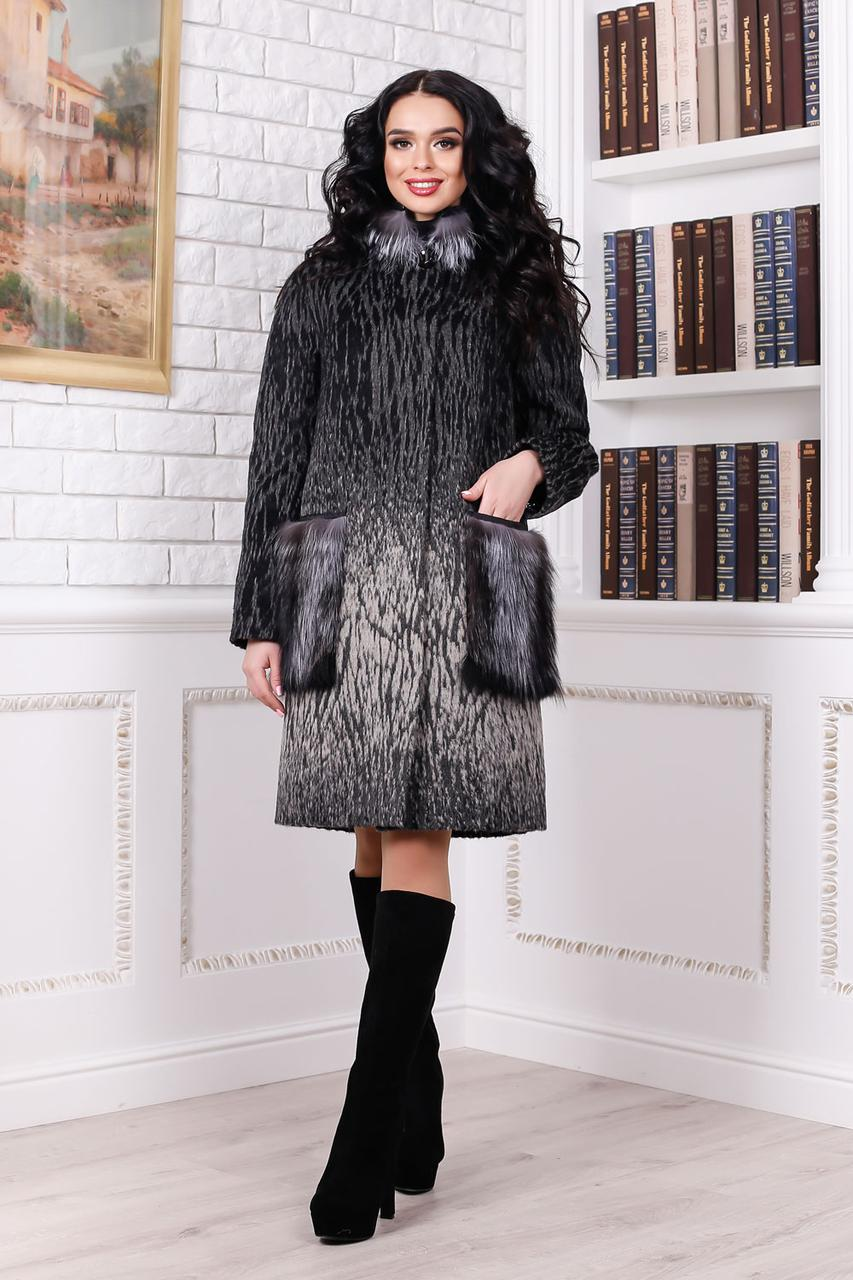 Женское меховое зимнее пальто бежевого цвета (р. 44-58) арт. 996 Тон 102