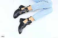 Женские ботинки, кожаные на ремнях, на байке
