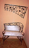Кованая настенная  вешалка и кованый диван в прихожую