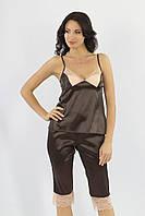 Ночной костюм (майка,бриджи) атлас + стрейч кружево коричневый