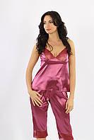 Ночной костюм (майка,бриджи) атлас + стрейч кружево лиловый