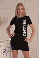 Трикотажное платье-туника черного цвета