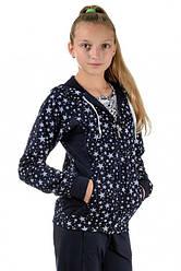 Детский спортивный костюм для девочек трикотажный темно синий со звездами Турция