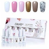 6 цветов Elite99 УФ LED замочить off гель лак для ногтей набор с пайетками 01#
