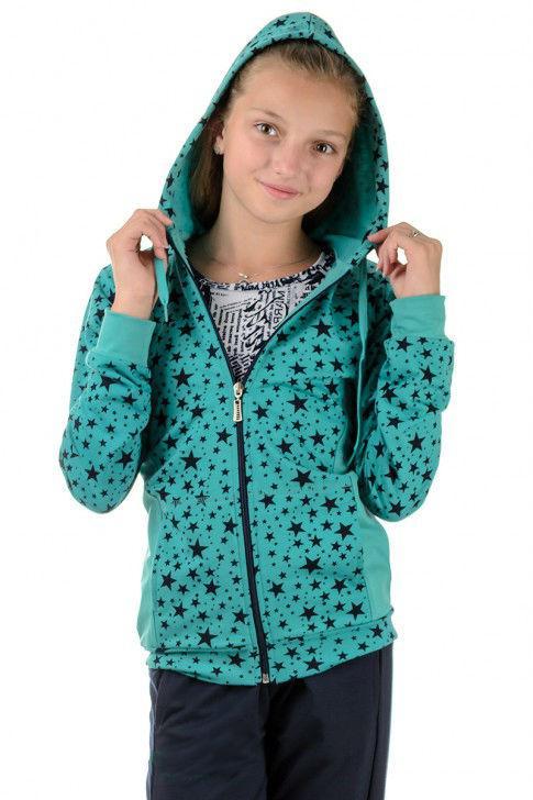 Детский спортивный костюм для девочек трикотажный черный со звездами Турция