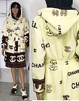 Короткий махровый халат под пояс с капюшоном 42-48 р Шанель, женские махровые халаты оптом от производителя