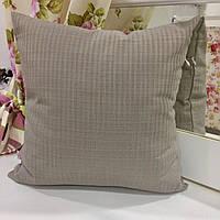 Декоративная подушка 45х45: полоска серый: наволочка на молнии, наполнитель холлофайбер