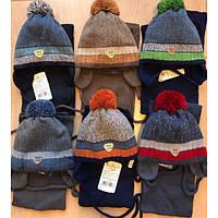 Детский зимний комплект шапка и шарф на мальчика