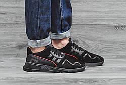 Мужские Кросcовки Adidas equipment adv замша черные (реплика)