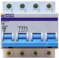 АСКО УКРЕМ Автоматический выключатель УКРЕМ ВА-2002 4р (3+N) 6А АсКо
