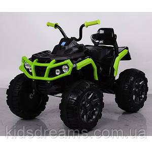 Детский электрический квадроцикл M 3156 EBLR-2-5 черно-зеленый с мягкими колесами и пультом управления