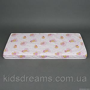 Матрас пятислойный К5 чехол хлопок Мишка и сердечки- цвет розовый ТМ Беби-Текс