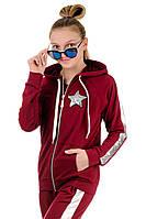 Подростковый детский спортивный костюм для девочек летний с капюшоном трикотажный с паетками Турция