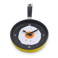 Timelike Творческий Жареный Яйцо Pan Shape Wall Clock Жёлтый и чёрный