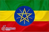 Флажок Эфиопии 13,5*25 см., плотный атлас