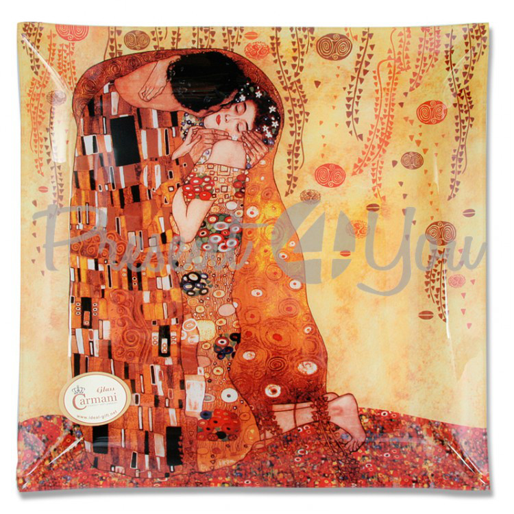 Стеклянная тарелка Г.Климт «Поцелуй» Carmani, 30х30 см (198-1151)