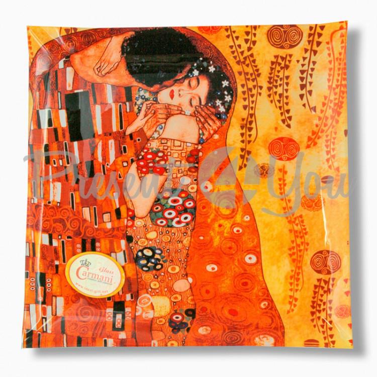 Стеклянная тарелка Г.Климт«Поцелуй» Carmani, 25х25 см (198-1231)