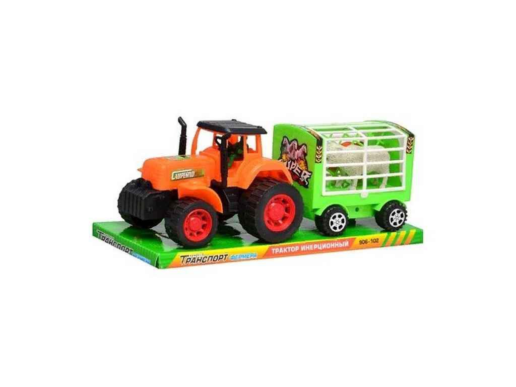Трактор інерційний 906-102 з причепом, тварини, в блістері, 31 см