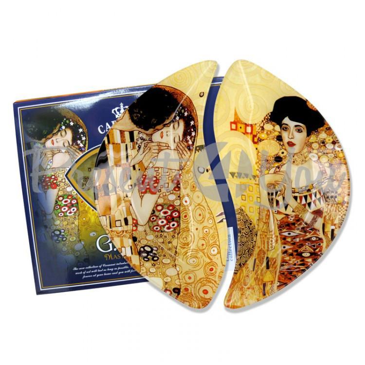 Набор стеклянных тарелок Г.Климт Carmani (2 шт.), 22,5х21 см (198-7022)