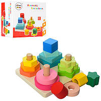 Деревянная игрушка Пирамидка - Геометрика Развивающая Цвета Фигуры Формы, MD 1190, 006981