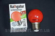 Лампа Navigator 71827 NLL-G45-1-230-R-E27 світлодіодна,кулька червона,1W, фото 2