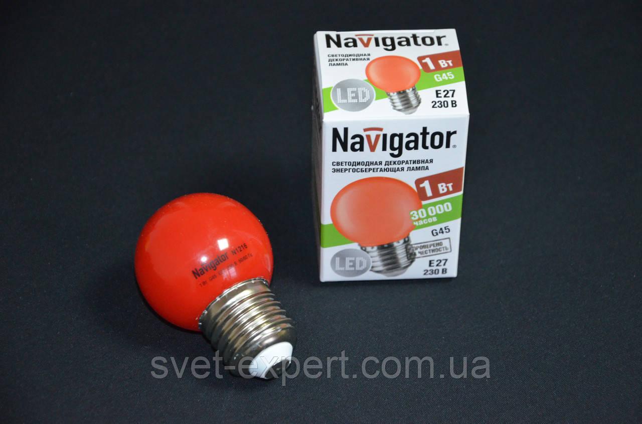Лампа Navigator 71827 NLL-G45-1-230-R-E27 світлодіодна,кулька червона,1W