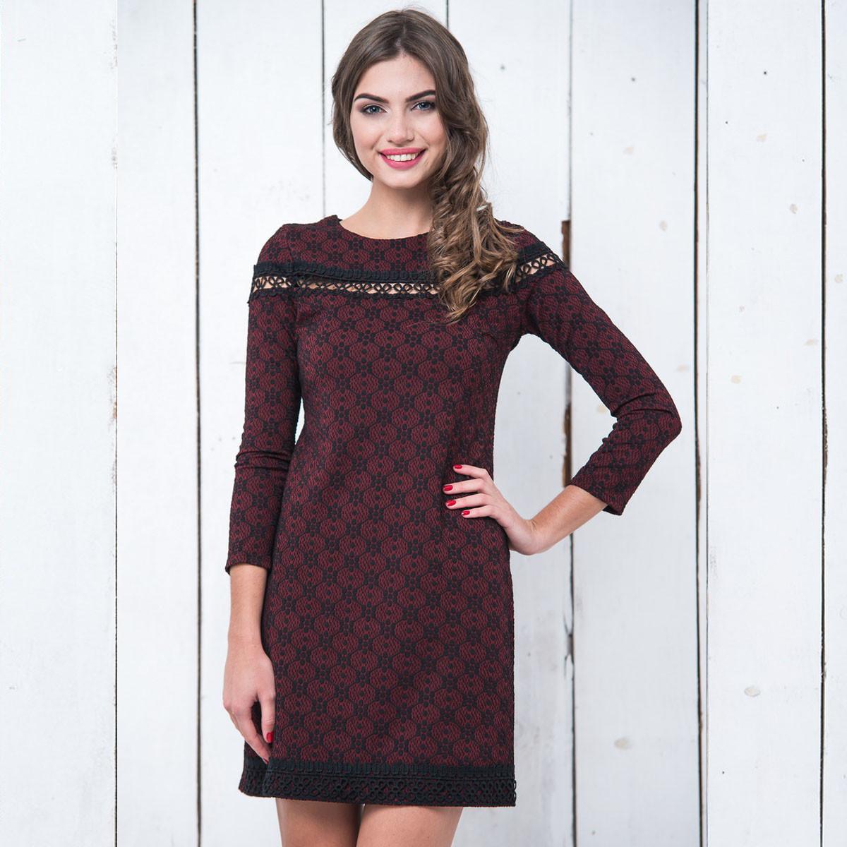 535095e461b Молодежное бордовое платье с кружевом