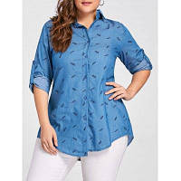 Большой Размер Женская Джинсовая Рубашка С Принтом На Пуговицах 3XL