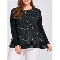 Женская Блузка Большого Размера С Цветочной Вышивкой 3XL