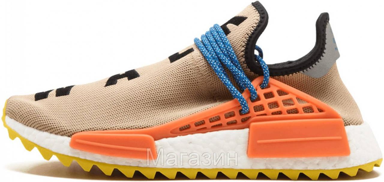 Мужские кроссовки Adidas NMD Human Race Trail Pharrell Williams (в стиле Адидас НМД) бежевые